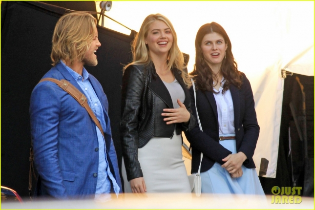 EXCLUSIVE: Kate Upton shoots scenes with co-stars Matt Barr and Alexandra Daddario for William H. Macy Directed Feature Film 'The Layover' in Richmond