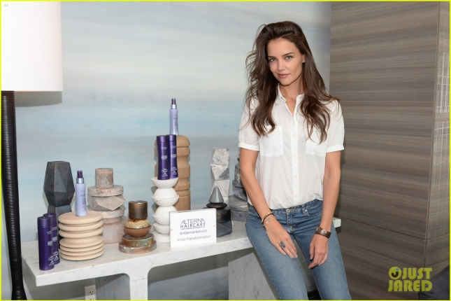 Katie Holmes celebrating the launch of Alterna Haircare`s Bamboo Beach Collection