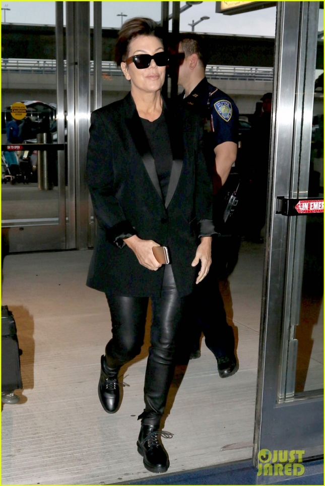 Kris Jenner arrives dressed in black at JFK Airport for a flight home **NO UK**
