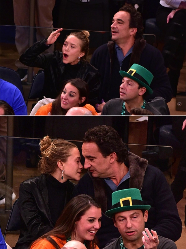 Мэри-Кейт Олсен и Оливье Саркози на баскетбольном матче 17 марта 2015 года