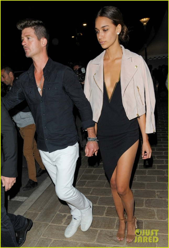 Robin Thicke and April Love Geary leave a boat party in Cannes **USA ONLY**