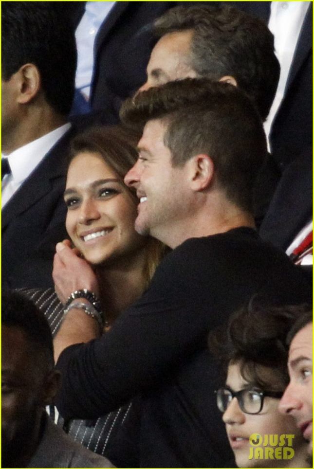 Robin Thicke and his new girlfriend April Love Geary spotted at a Paris Saint-Germain match