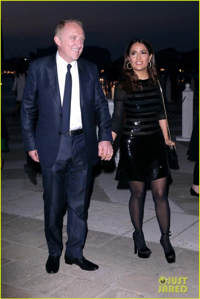 Сальма Хайек с мужем Франсуа-Анри Пино на специальном ужине в Fondazione Cini, Isola Di San Giorgio