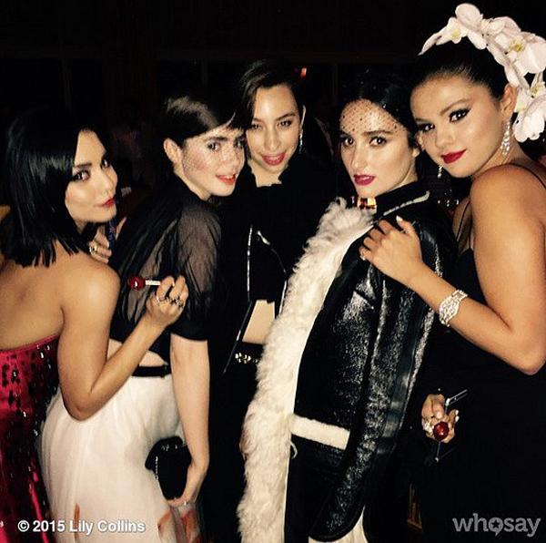 Vanessa-Hudgens-Lily-Collins-Banks-Selena-Gomez-huddled-up