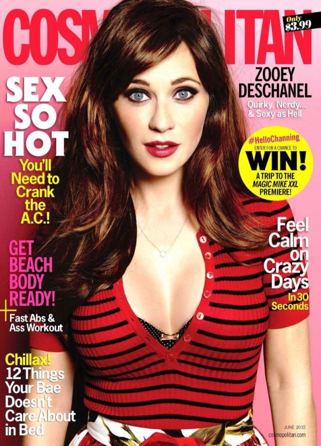 Зои Дешанель на обложке Cosmopolitan, июнь 2015