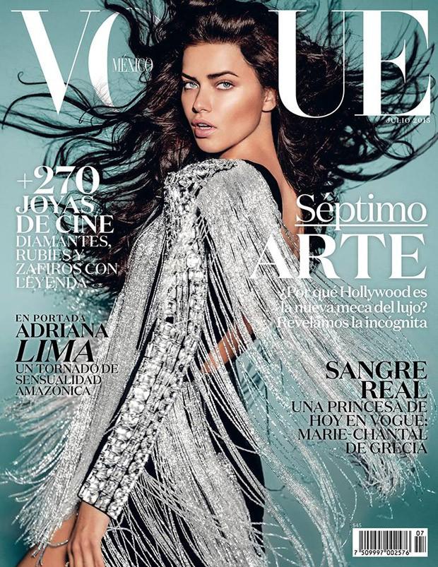 Адриана Лима на обложке Vogue Мексика, июль 2015