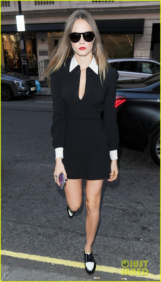 Cara Delevingne steps out in a LBD in London - Part 2 **USA ONLY**