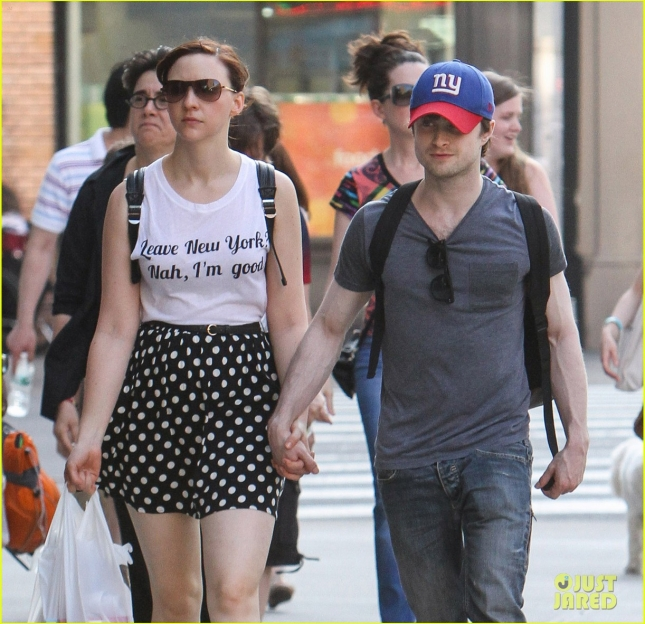 Danielle Radcliffe and Erin Darke are all loved up in Manhattan**USA ONLY**