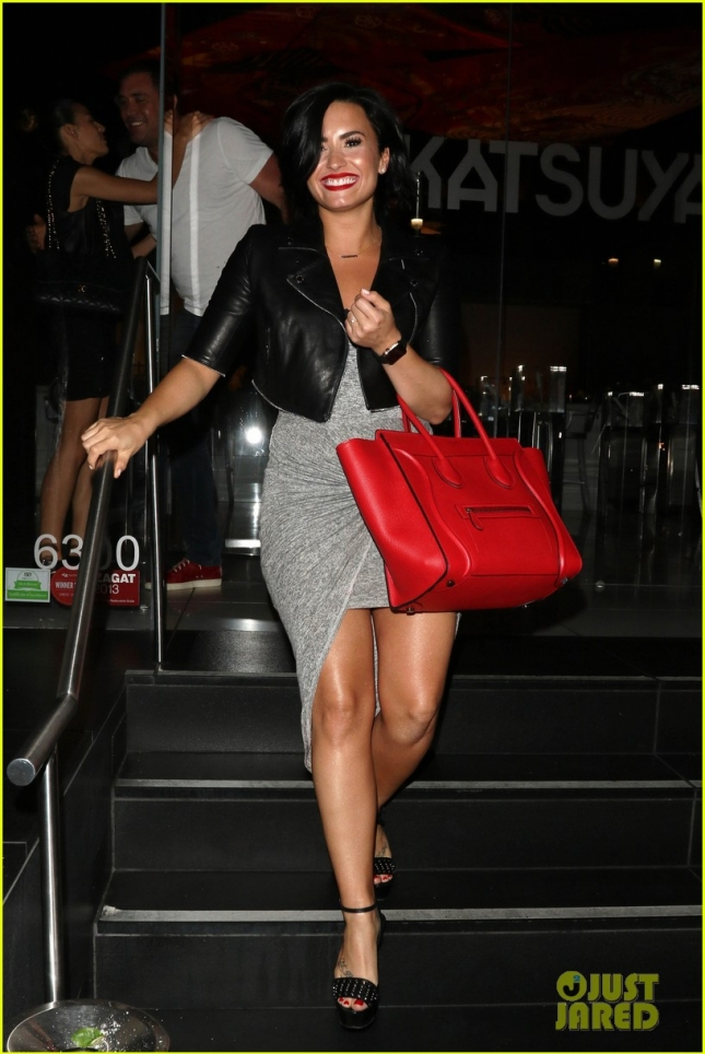 Demi Lovato is beaming after a dinner at Katsuya
