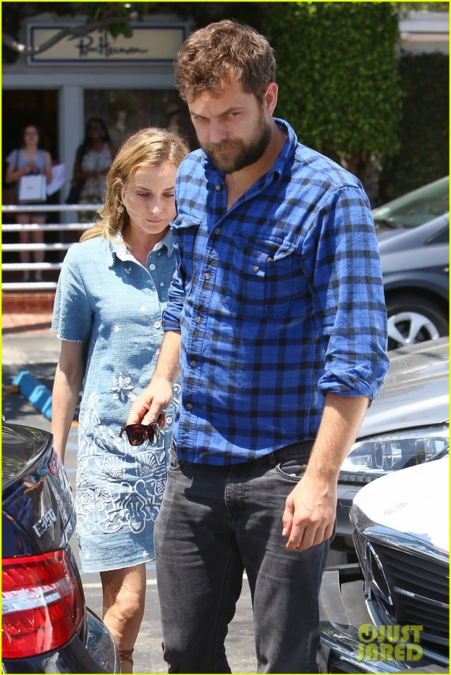 Joshua Jackson and Diane Kruger are matching in blue at Fred Segal