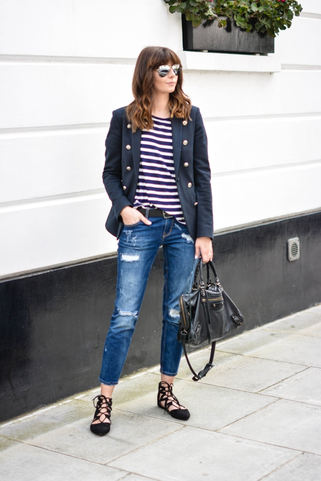 EJSTYLE-Emma-Hill-Aquazzura-flats-dupes-Balenciaga-city-bag-black-Ripped-boyfriend-jeans-breton-stripe-top-Superdry-muse-navy-blazer-mirrored-sunglasses-OOTD-casual-weekend-outfit