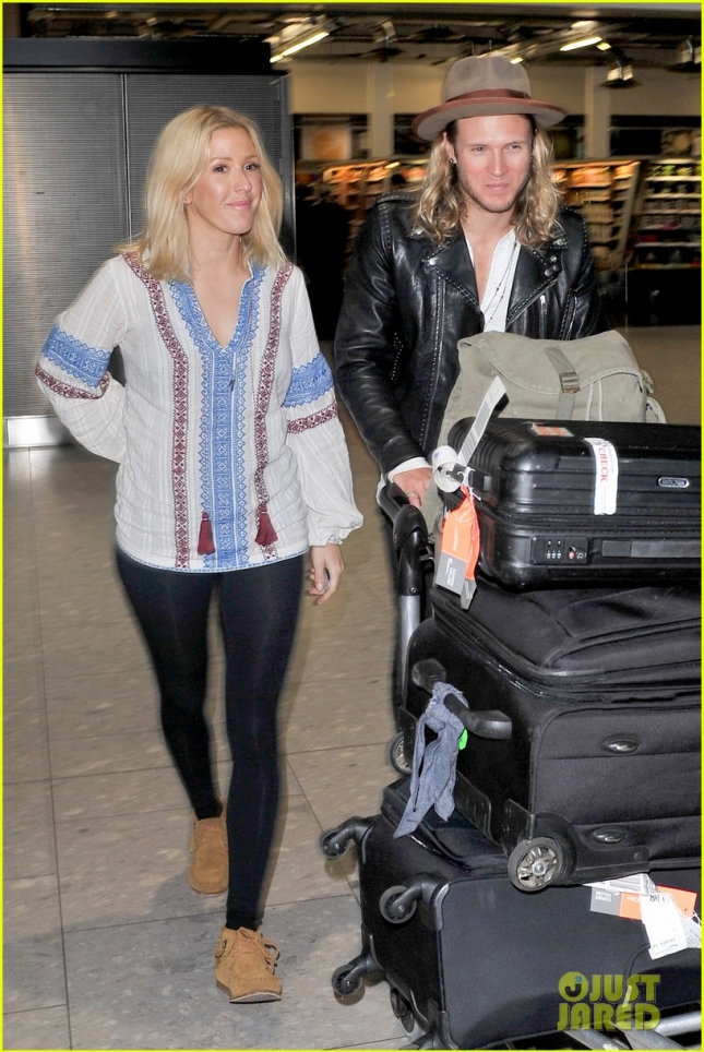 Ellie Goulding and Dougie Poynter arriving at Heathrow Airport - Part 2 **USA ONLY**