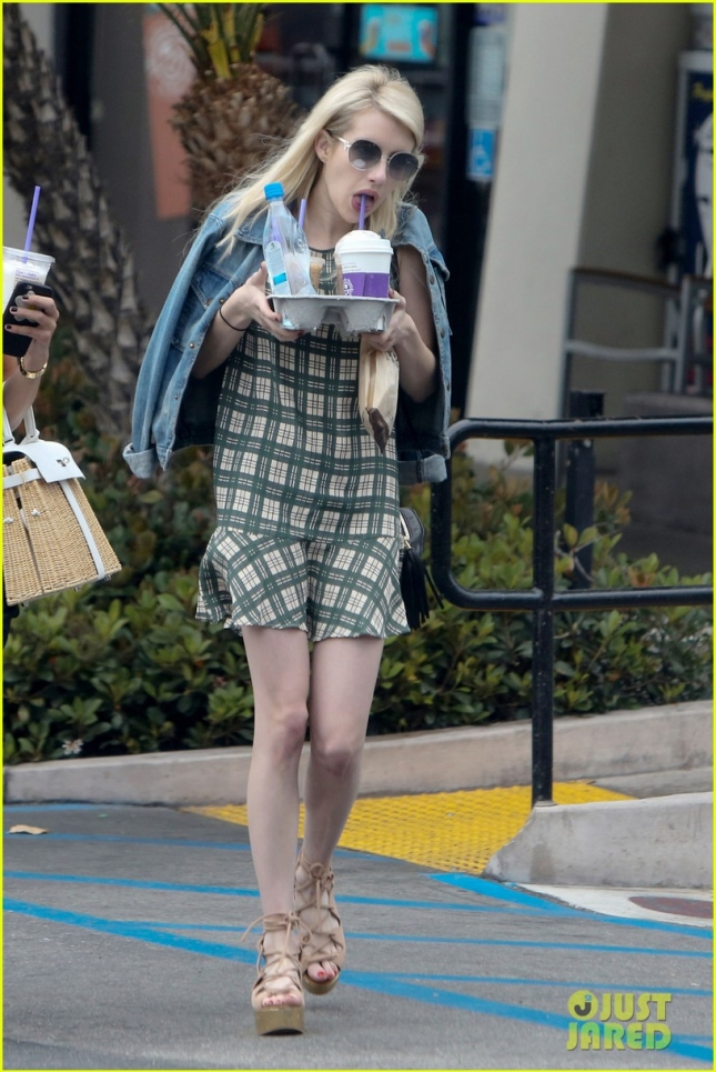 EXCLUSIVE: Emma Roberts grabs 3 coffees and goes without an engagement ring in LA