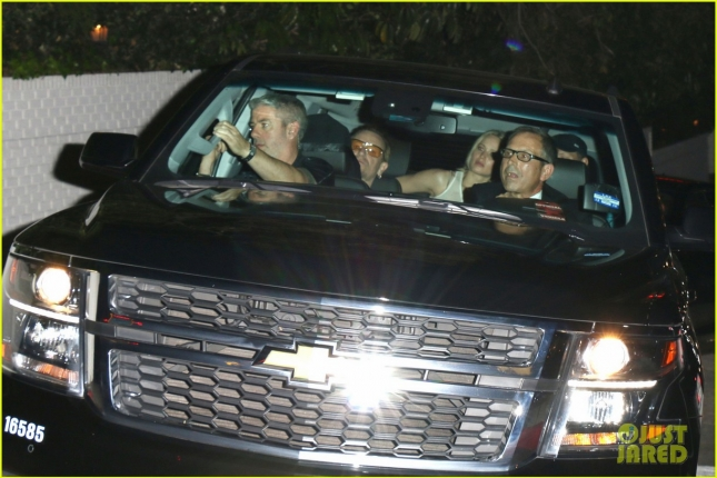 Jennifer Lawrence seen next to Bono and Chris Martin in Chateau Marmont, West Hollywood