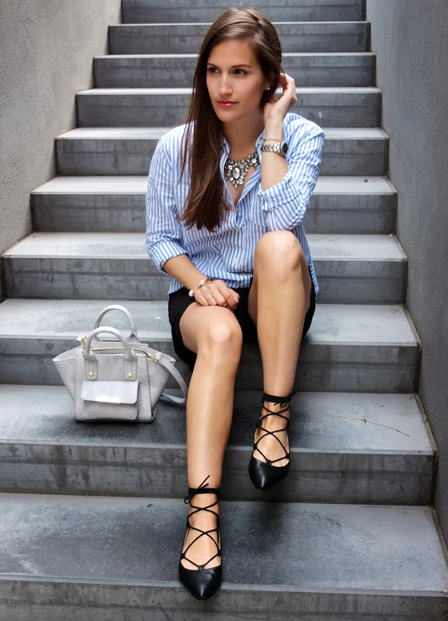 Lace Up Flats And Striped Shirt - Pieces of Mariposa - 5