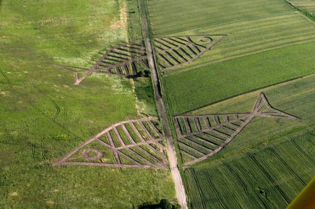 Польша и Уrраина/ Здесь, на границе стран, часто проводится фетисвлаь лэнд-арта. Рыбки - символ единства.