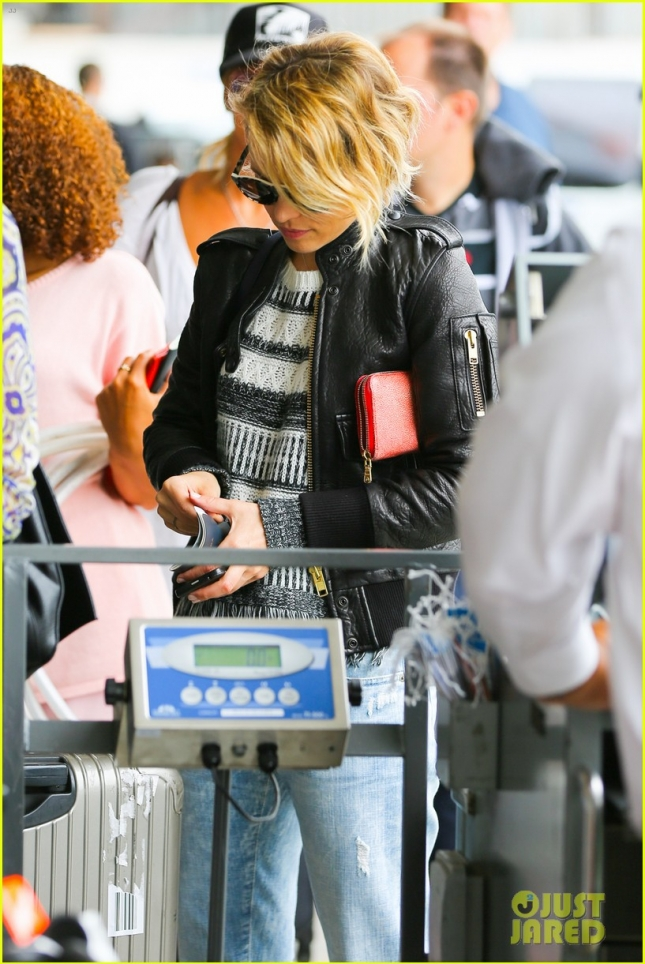 Rachel McAdams Wheres a Fringe Lined Sweater at LAX