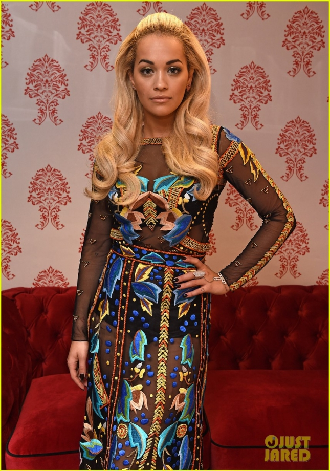 Rita Ora stuns in a sheer dress while backstage **USA ONLY**
