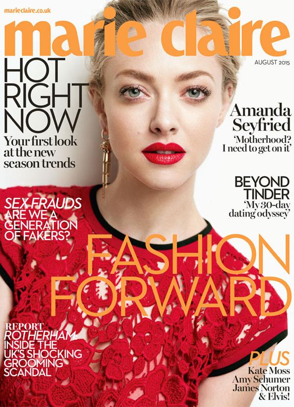 Аманда Сайфред на обложке Marie Claire UK, август 2015