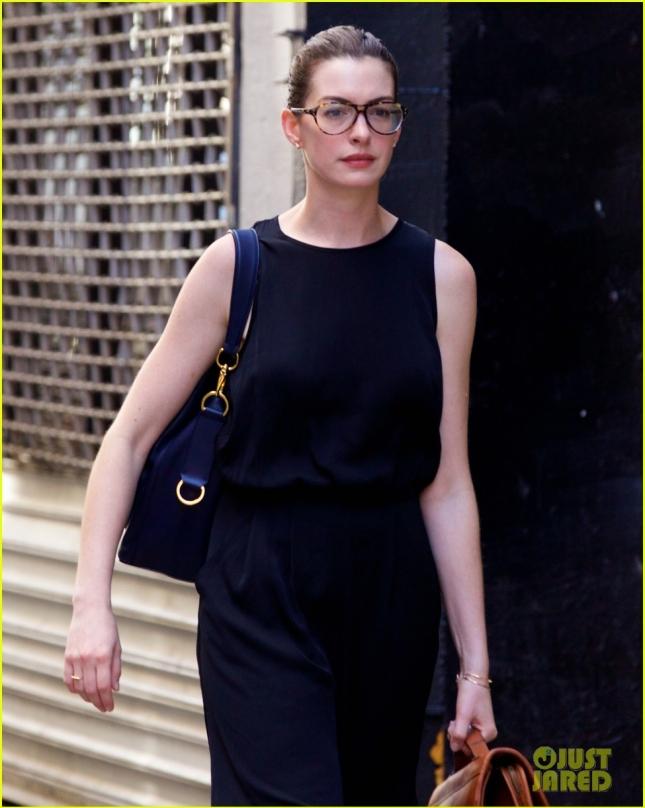 Anne Hathaway Wears Eyeglasses & Carries A Briefcase