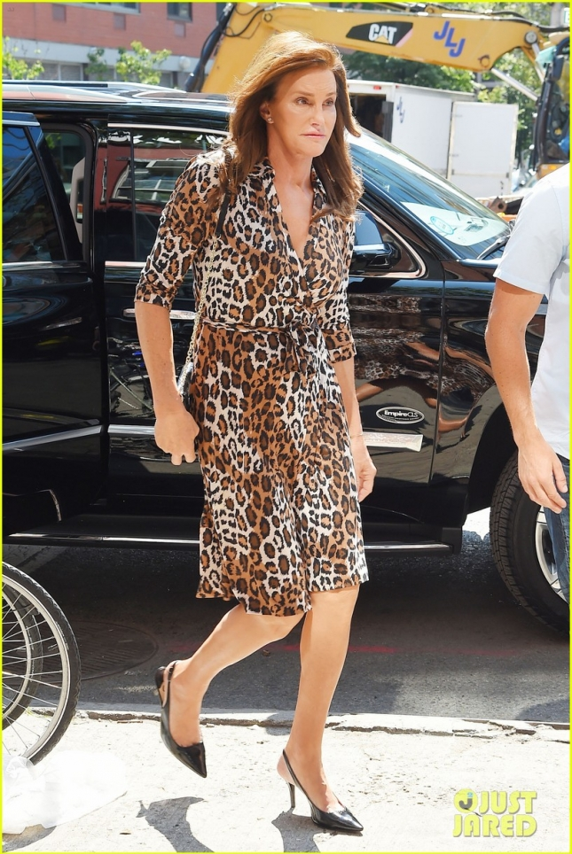Caitlyn Jenner shows off her style in a leopard print dress and black heels