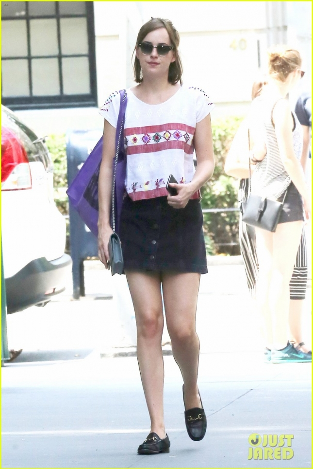 Dakota Johnson goes for an early morning stroll in the Big Apple **USA ONLY**