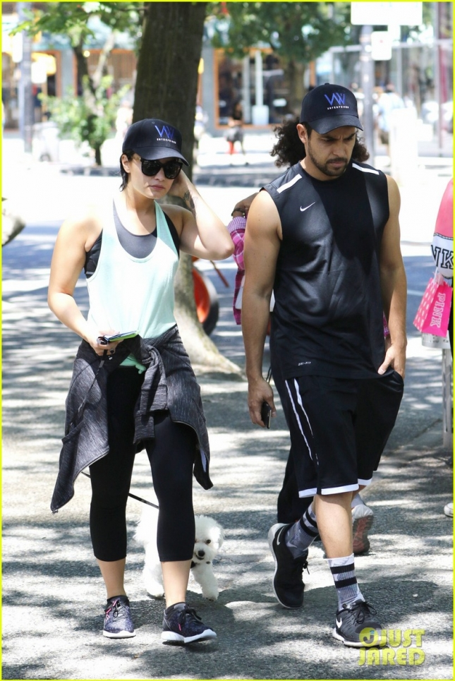 EXCLUSIVE: Demi Lovato and Wilmer Valderrama take their dog for a walk on a sunny day in Vancouver