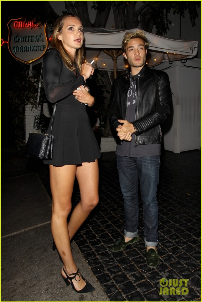 Ed Westwick and Julia Gall leaving the Chateau Marmont **NO Australia, New Zealand**