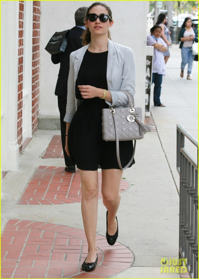 Emmy Rossum looks stylish out running errands in Beverly Hills