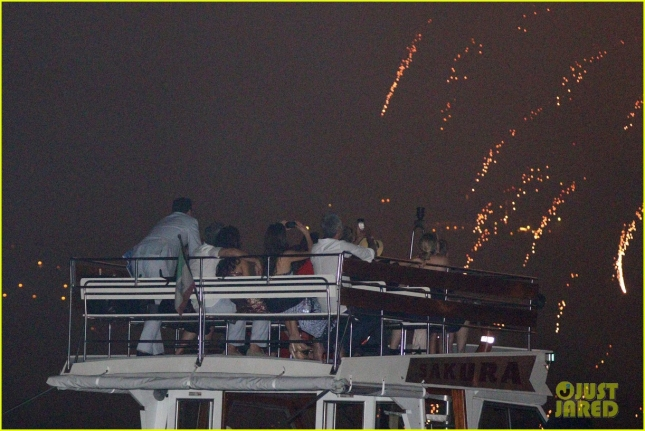George Clooney and Amal enjoy fireworks over  Lake Como **USA ONLY**