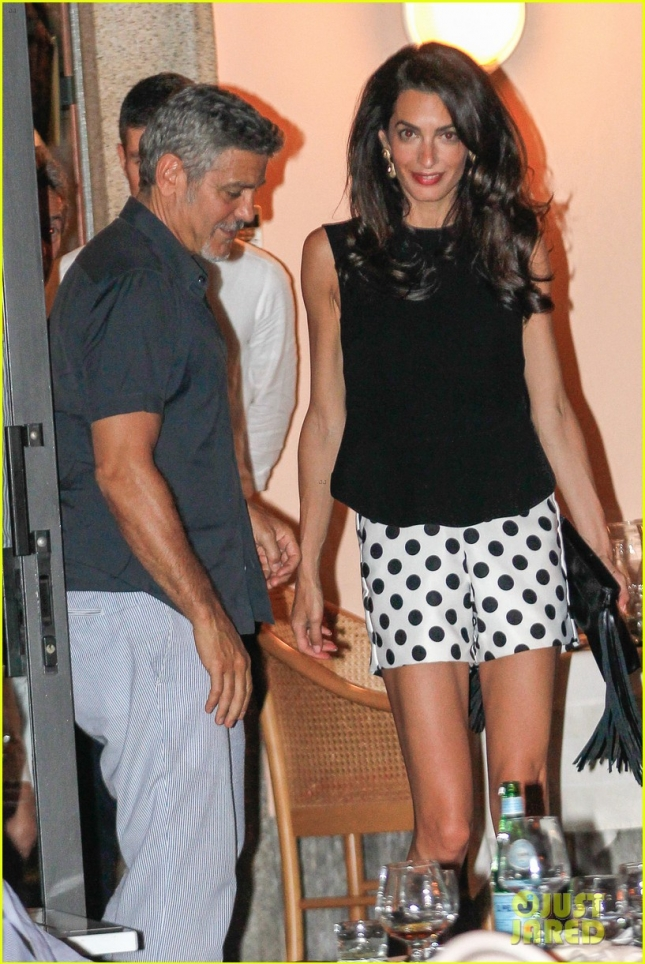 George and Amal Clooney enjoy a dinner date at Harry's Bar **USA ONLY**