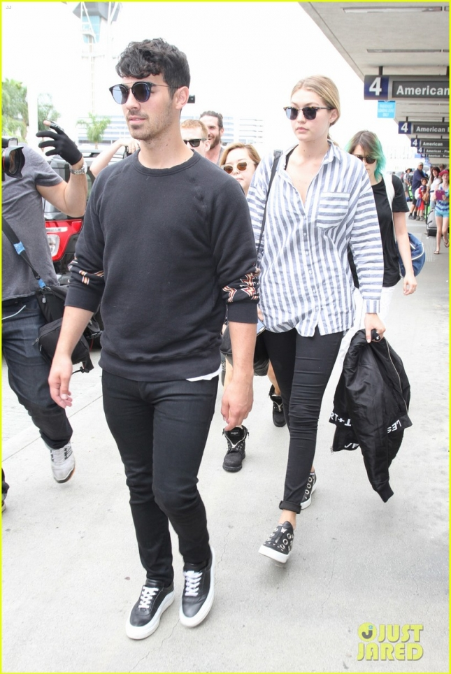 Power couple Gigi Hadid and Joe Jonas return from the Big Apple