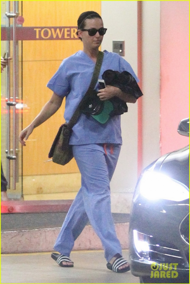 *EXCLUSIVE* Katy Perry exits a doctor's office wearing medical scrubs