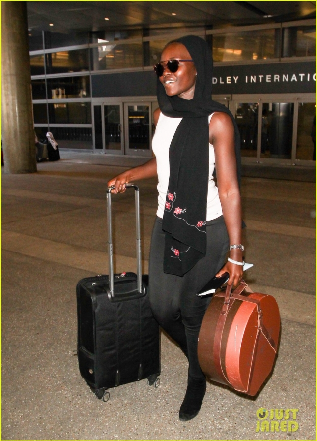 Lupita Nyong'o Looking Chic At LAX