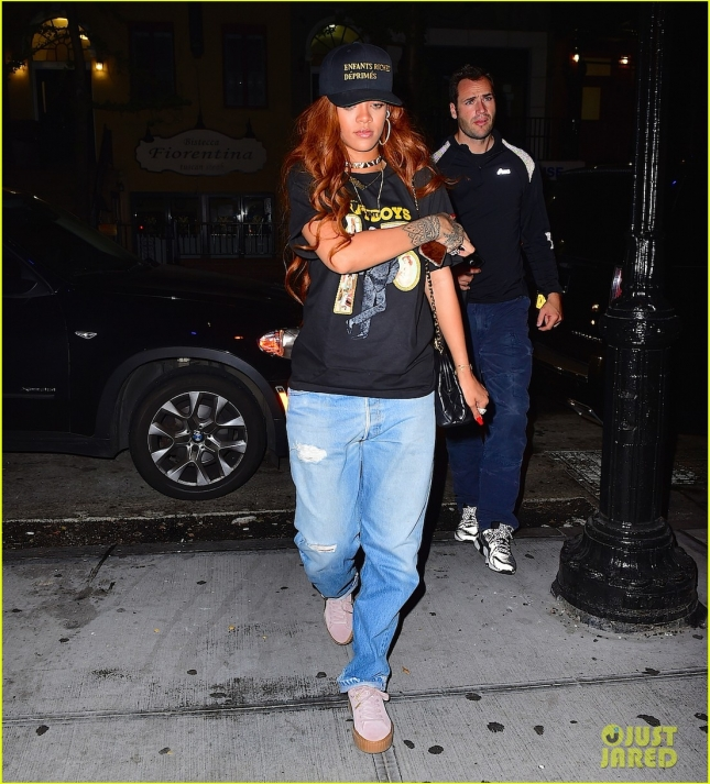 Rihanna and her hunky bodyguard head to a late night recording studio session