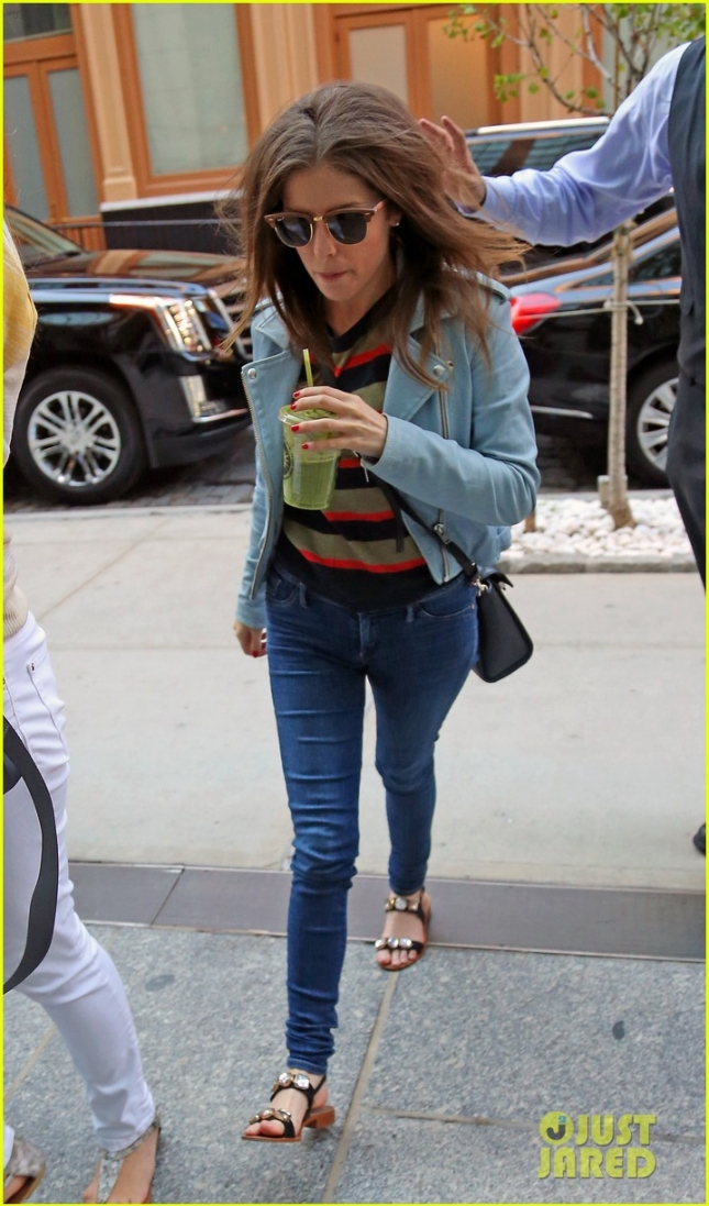 Actress Anna Kendrick spotted walking into her hotel sipping on a drink from Starbucks in New York City.