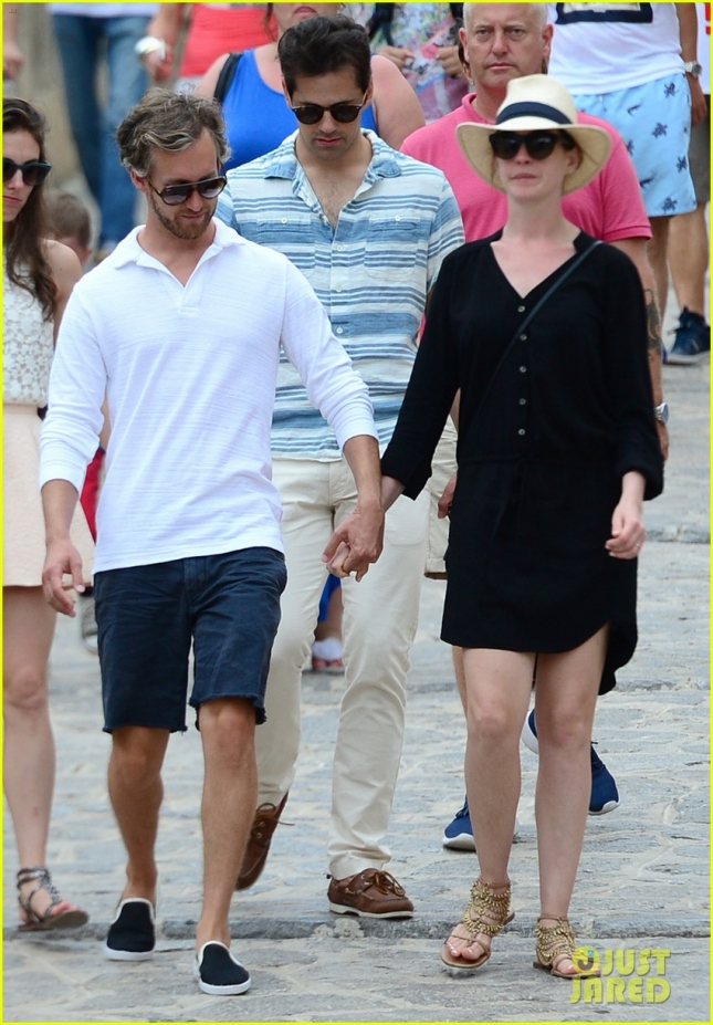 Anne Hathaway and Adam Shulman make the best of a cloudy Ibiza day **USA ONLY**