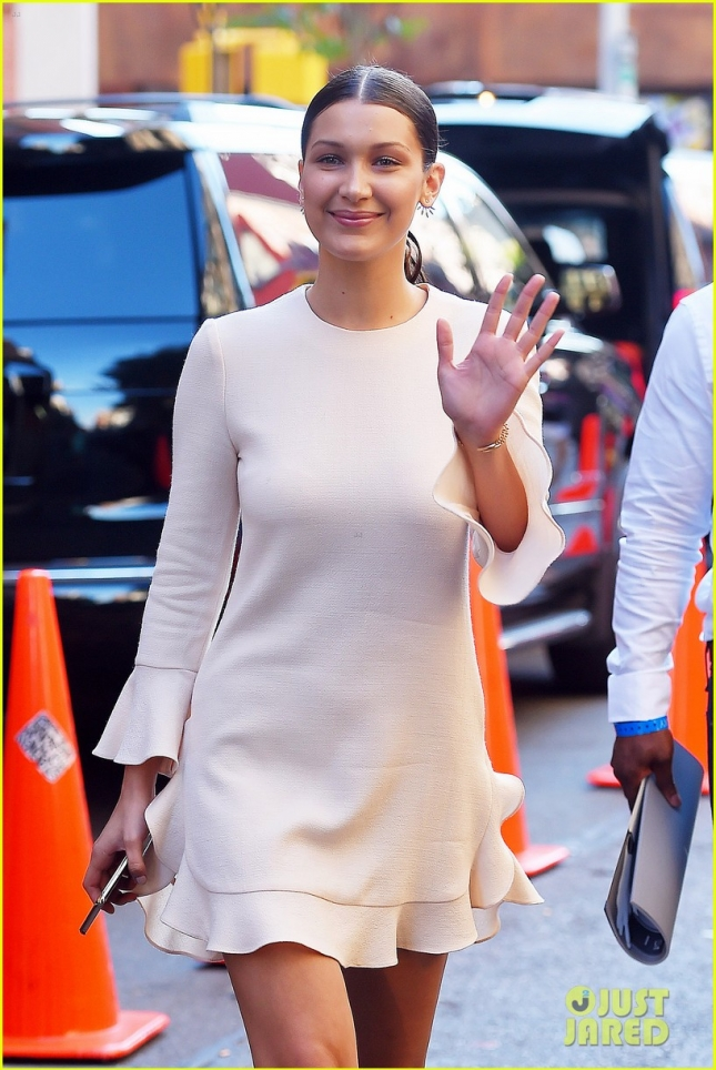 Bella Hadid gives a friendly wave in NYC