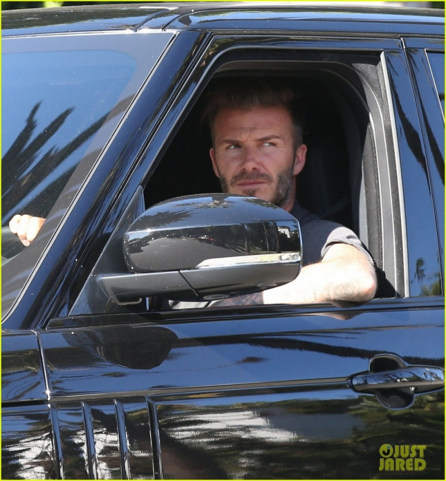 Exclusive... David Beckham & Son Brooklyn Spotted Out In Los Angeles