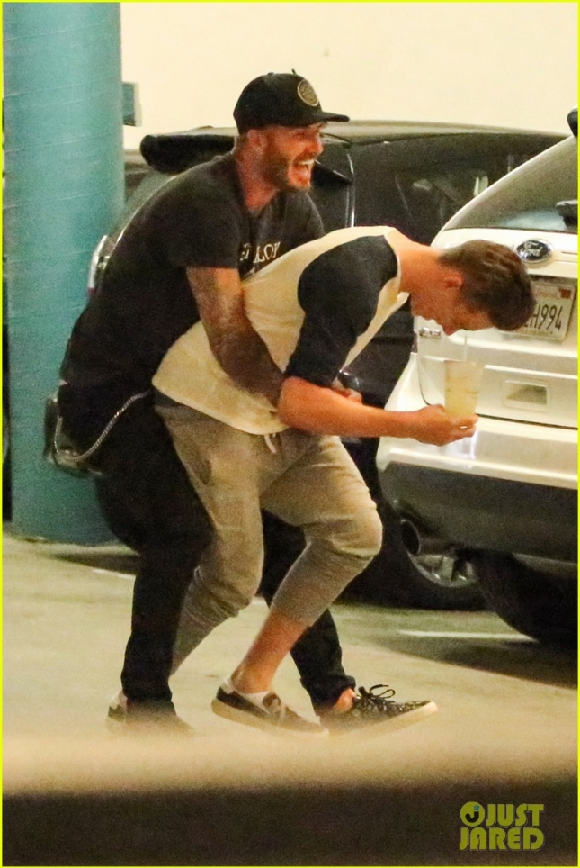 *EXCLUSIVE* David Beckham plays with his kids after having lunch at Tender Greens