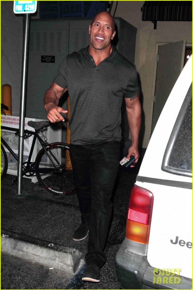 Dwayne Johnson opts for privacy after dinner at Palm Restaurant **USA ONLY**