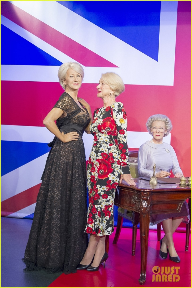 Helen Mirren checks out her waxwork's figures at Madame Tussauds London **USA ONLY**