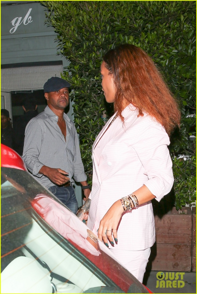 *EXCLUSIVE* Rihanna runs into Cuba Gooding Jr. after dinner at Giorgio Baldi
