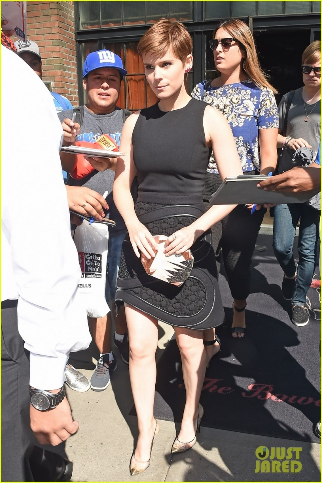Kate Mara steps out in a fashionable little black dress in NoHo, NYC