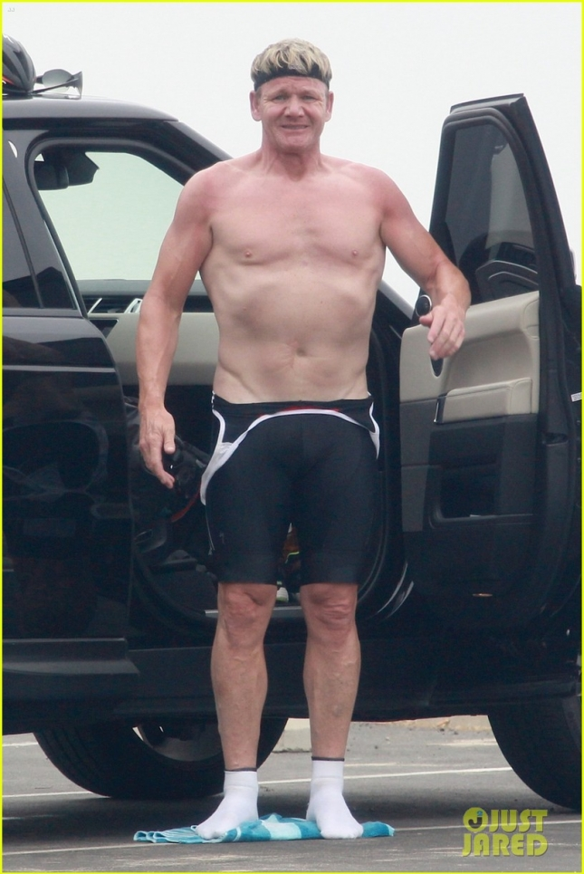EXCLUSIVE: Shirtless chef Gordon Ramsay gets ready for his bicycle training along the Malibu coast