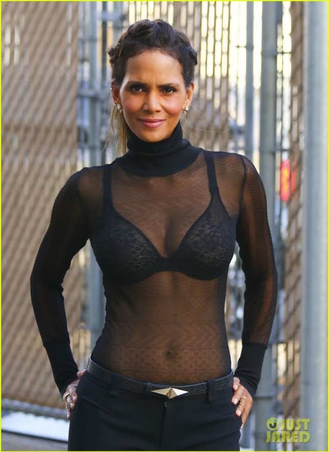 Halle Berry looks ultra sexy in sheer top after Jimmy Kimmel Live **USA ONLY**