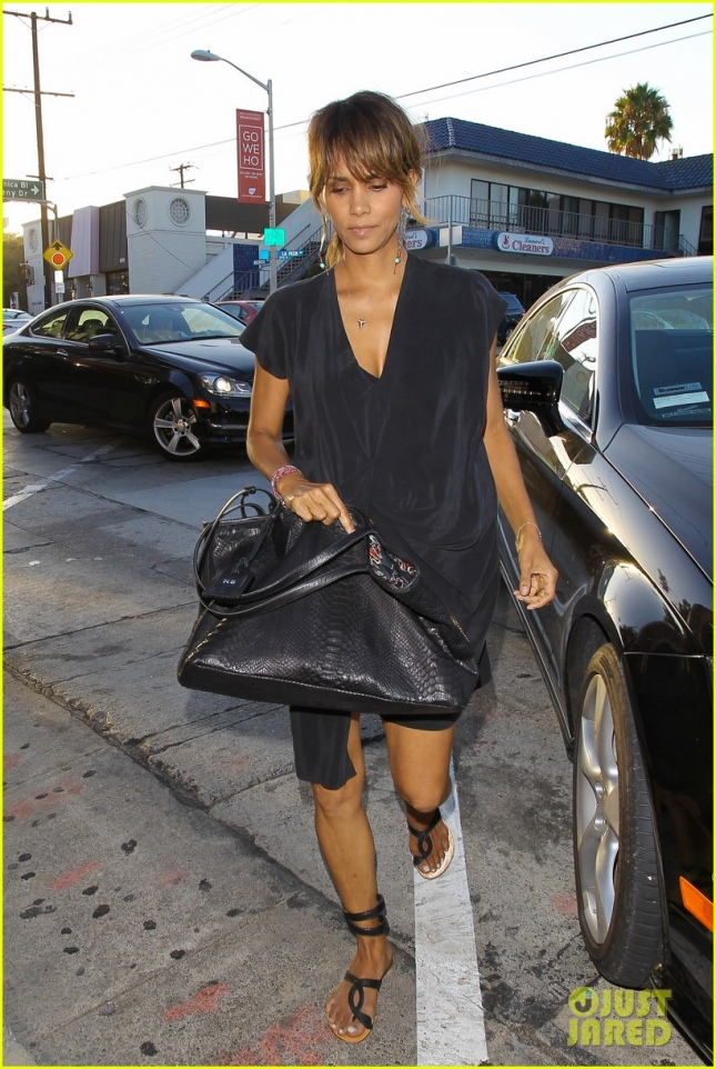 A somber looking Halle Berry arrives at Craig's for dinner **NO Australia, New Zealand**