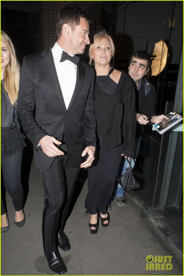 Hugh Jackman and his wife Deborra lee furness arrive at the theatre