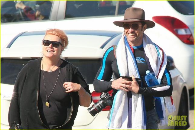 *EXCLUSIVE* Hugh Jackman goes for a swim at Bondi Beach