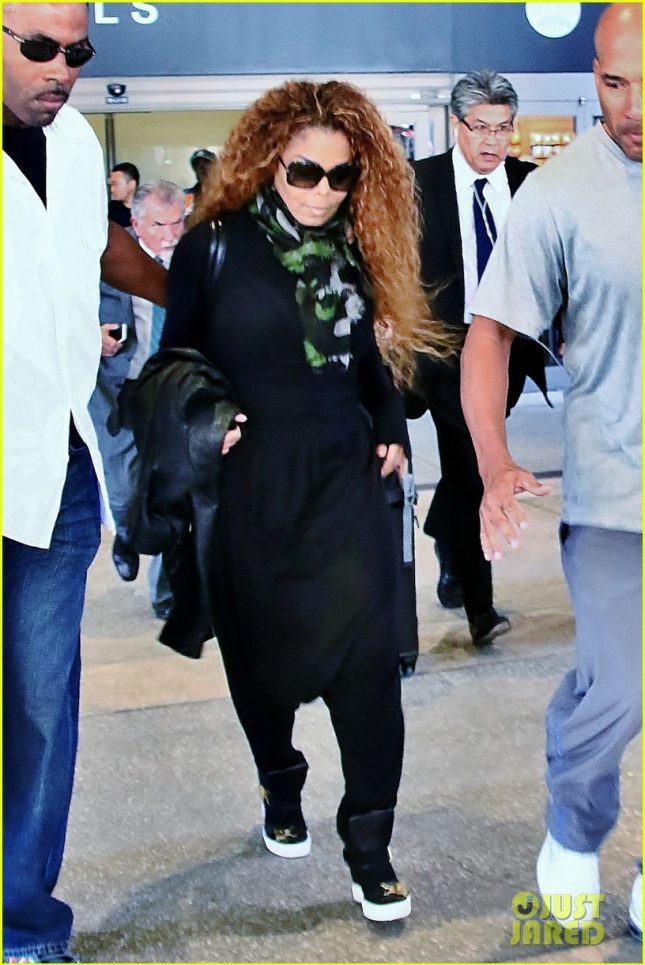 Janet Jackson seen making her way through Los Angeles International Airport